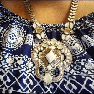 Jewelry - Boho Chic Fashion Statement Necklace Silver White